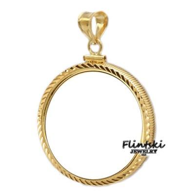 1/20th 14k Gold Filled Diamond Cut Coin Bezel Frame Mount Pendant