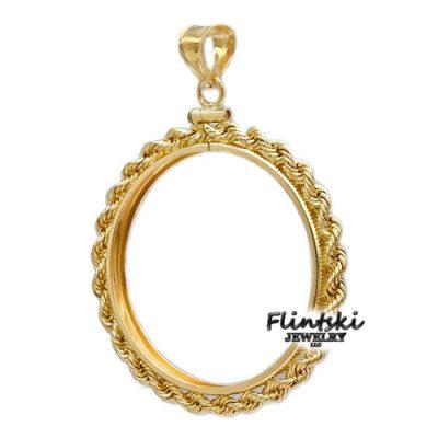14k Gold Rope Coin Bezel Frame Mount Pendant