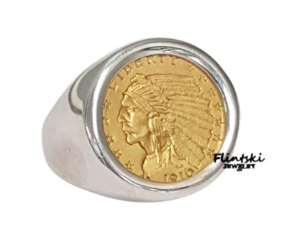 $2 50 Gold Indian Coin Ring 925 Sterling Silver High Polished Smooth