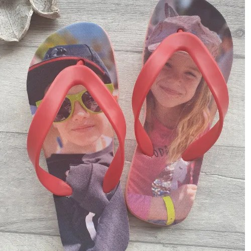 Flip Flops with childrens faces on them
