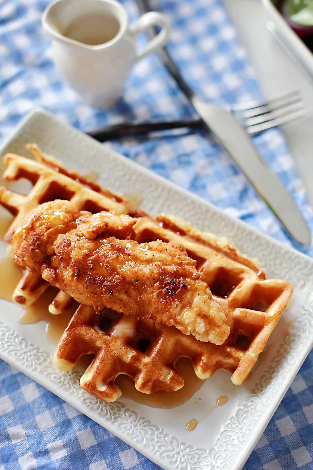 Fried chicken and waffles by Flirting with Flavor