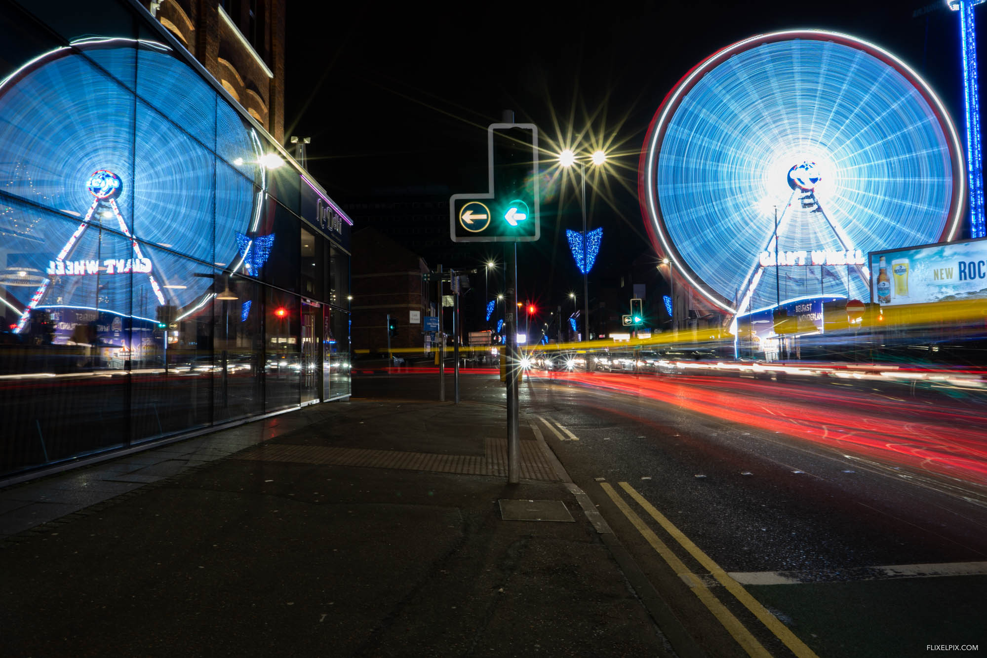 The lights of Belfast during the Friday night rush hour.
