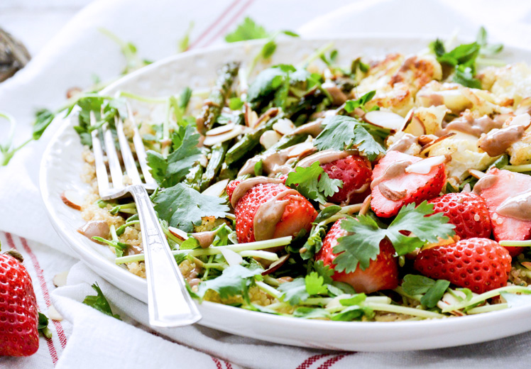 Quinoa and Pea Shoot Salad with Cauliflower, Asparagus and Strawberries