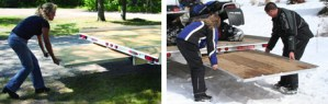 Stowing ramps on a VersaMax trailer.