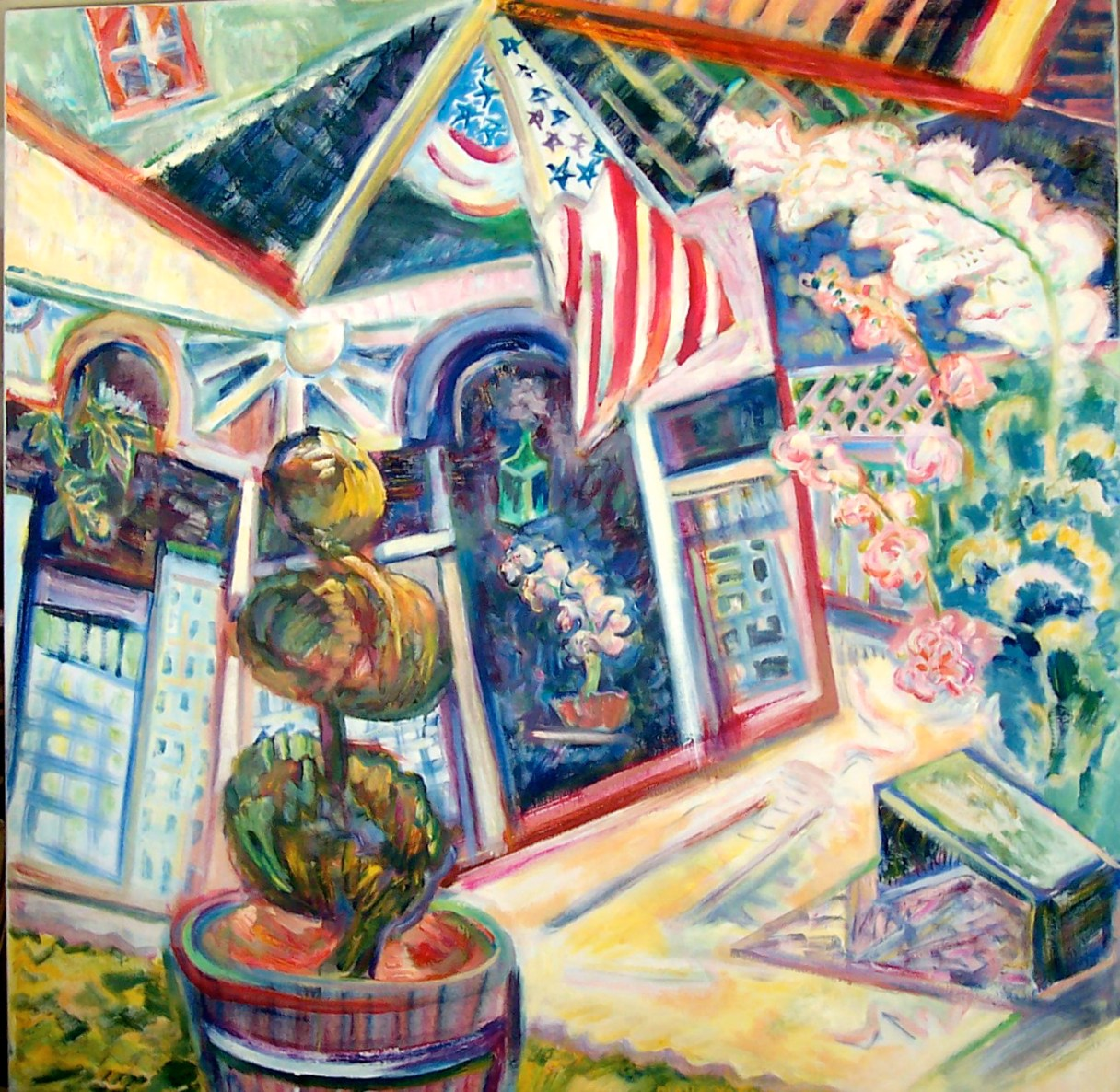 Enter Here, 2007, Diana Young, American b. 1936, 40 x 40 inches, acrylic on canvas, $2,850