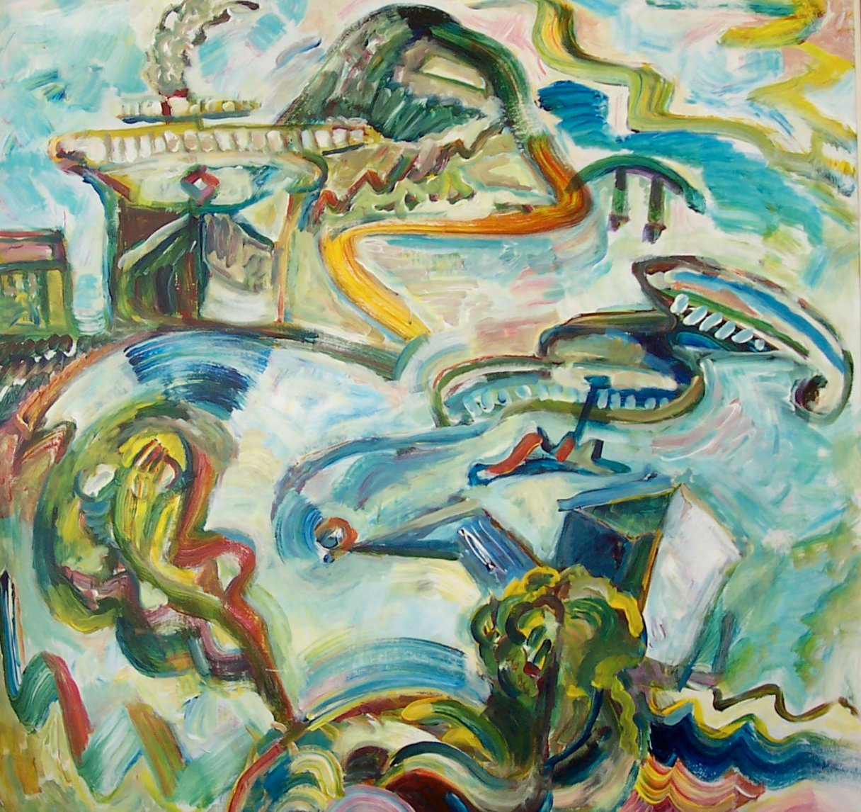 Angry Day At Estes Head, 2002, Diana Young, American b. 1936,40 x 40 in, acrylic on canvas, $3200 - Another stunning example of Young's ability to distill the character of a landscape.