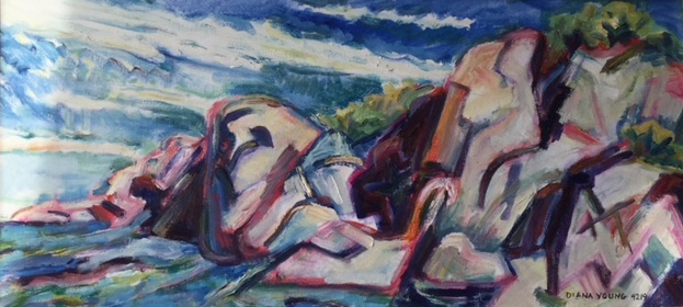 The Savage Stones, 2016, Diana Young, USA born 1936, 30x14 inches, acrylic on canvas, $1050 - An incredible example of Young's ability to distill the specific character of a landscape. The Savage Stones evokes a sense of place, distant horizon, and drama. A panoramic proportion give a sense of space and depth to this rendering of the Maine coastline. Priced below market as an incentive to an early buyer. A very fine work of art for the price. Note: Listing image has a sun highlight that is an error of the photography, not an effect of the painting.