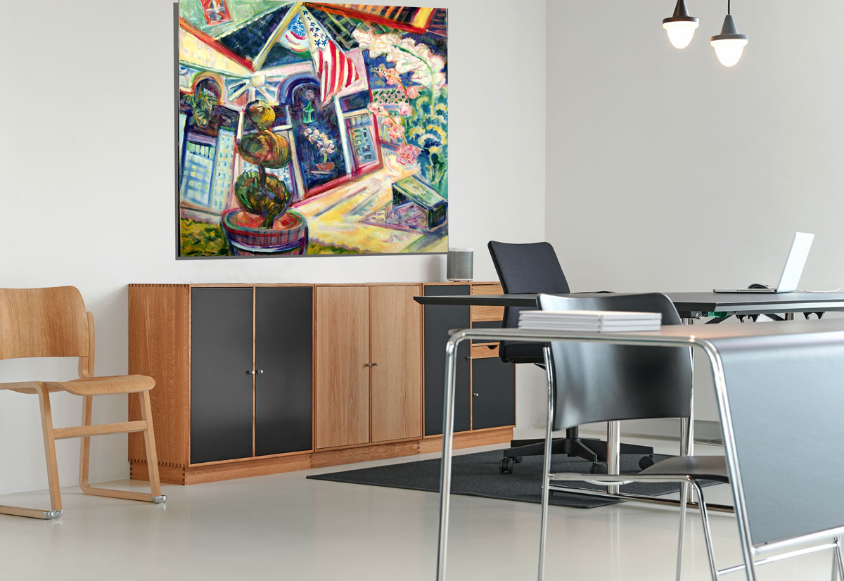 Enter Here, 2007, Diana Young, American b. 1936, 40 x 40 inches, acrylic on canvas, interior office mockup
