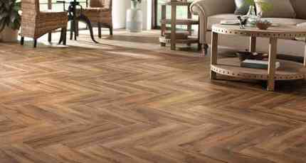 Herringbone Wood Look Tile Living Room