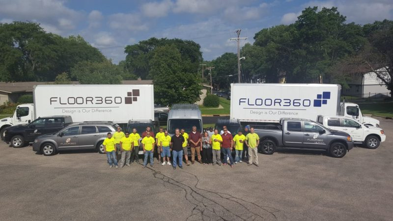 Flooring installation team