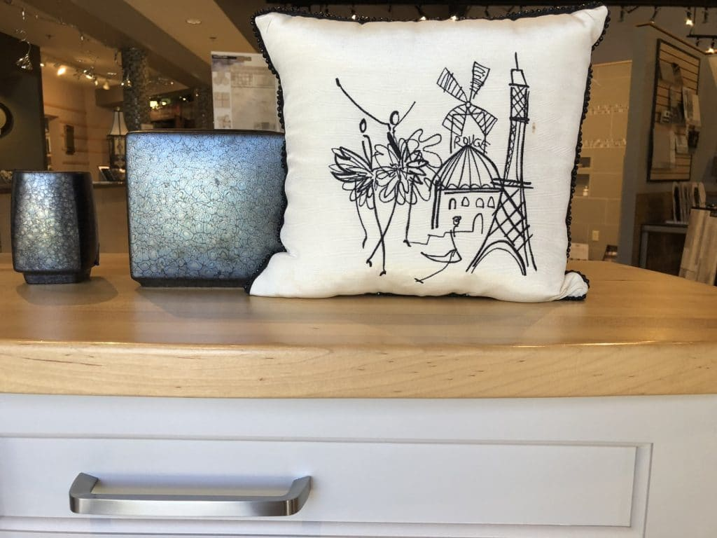 Throw pillow and bath accessories from FLOOR360