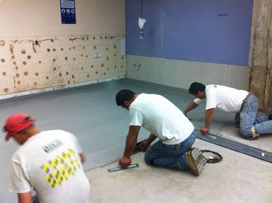 Replacing Old Worn Out Restaurant Kitchen Floor Tile With Urethane     hotel kitchen flooring