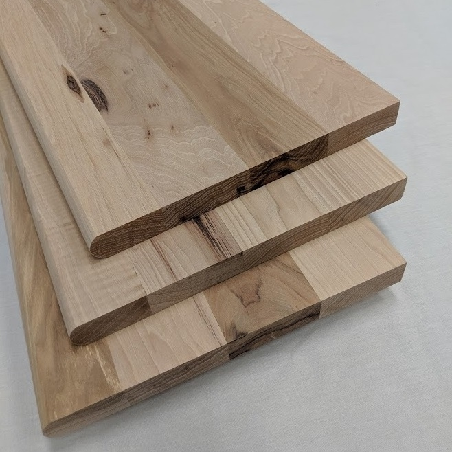 Hickory Stair Treads Risers Prefinished And Unfinished Buy Online | Prefinished Wood Stair Treads | Hickory | Risers | Natural Red | Red Oak Stair | Stair Nosing