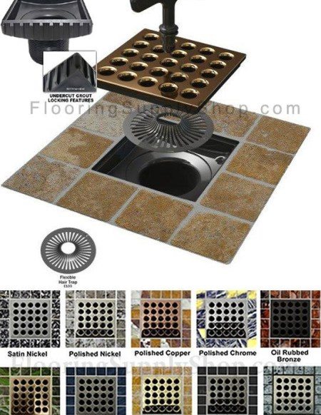 Ebbe square shower drain, deco shower drain