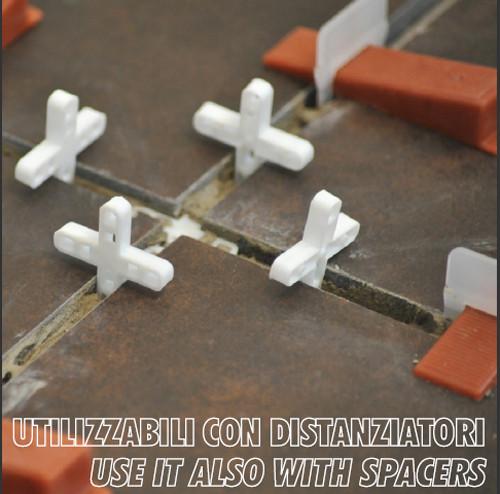 Raimondi tile leveling system, RLS wedges, RLS spacers, RLS-KIT, tile, leveling, lippage, flat surfaces, spacers, installation