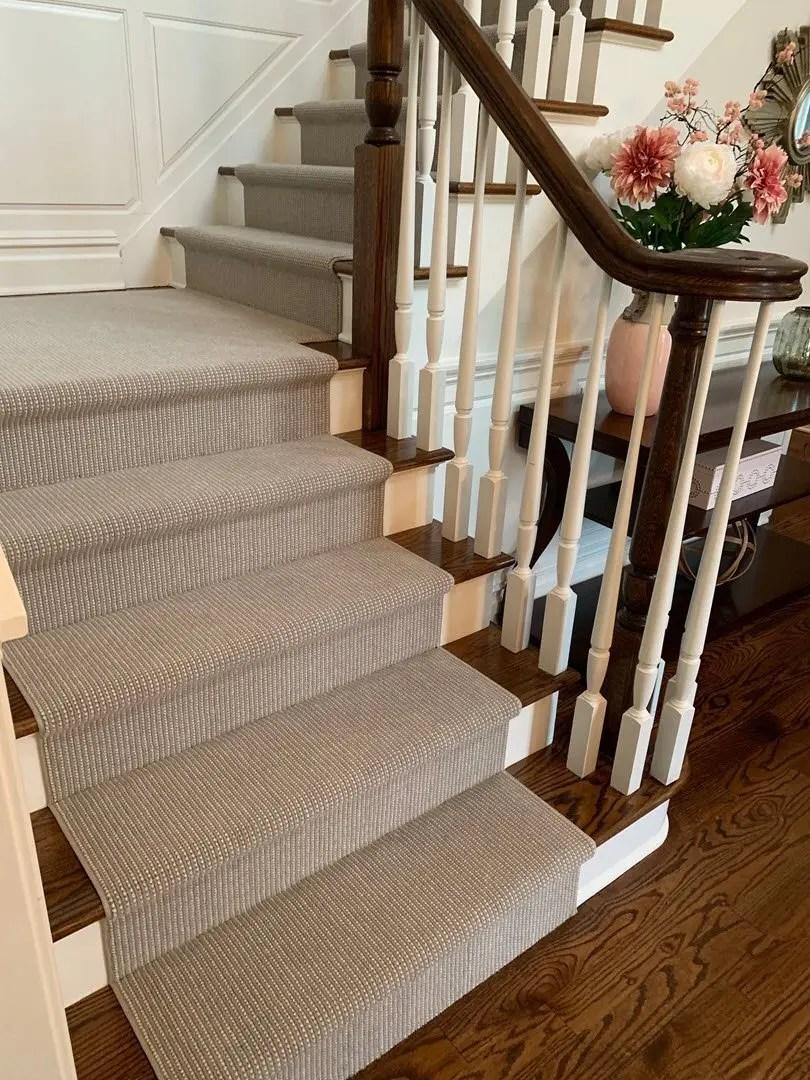 Carpet Chatham Nj Stair Runners Custom Rugs Floors Direct | Carpet Runners For Steps | Good Quality Carpet | Starter Step Carpet Runner | Solid Colour | Hollywood | Light Grey