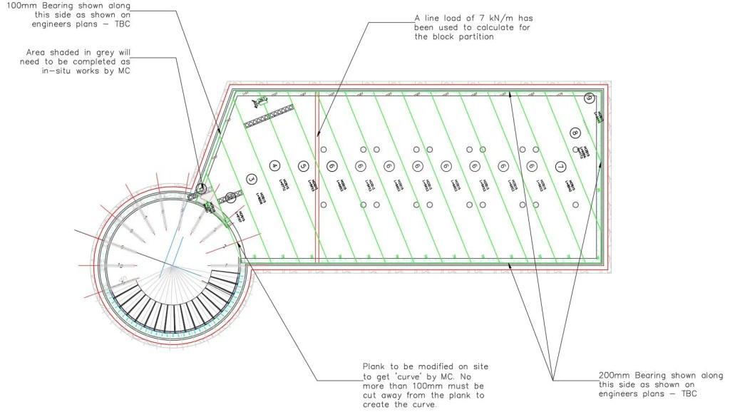 Floor plan including diagonally cut planks