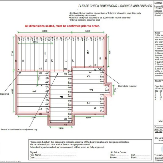 Floorspan Design Drawing For Block & Beam