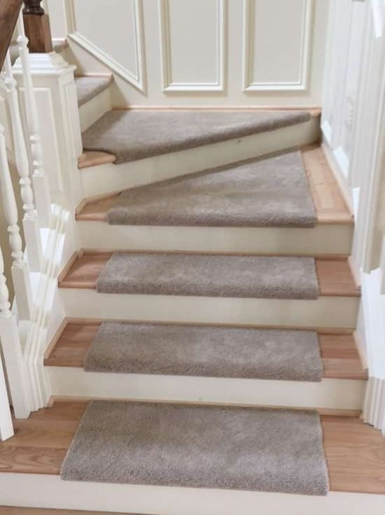 Carpet Custom Stair Treads The Floor Store | Carpet Treads For Wooden Stairs | Commercial Rubber | Rectangular Cord Treads | Carpet Wrapped | Self Adhesive | Different Style Stair