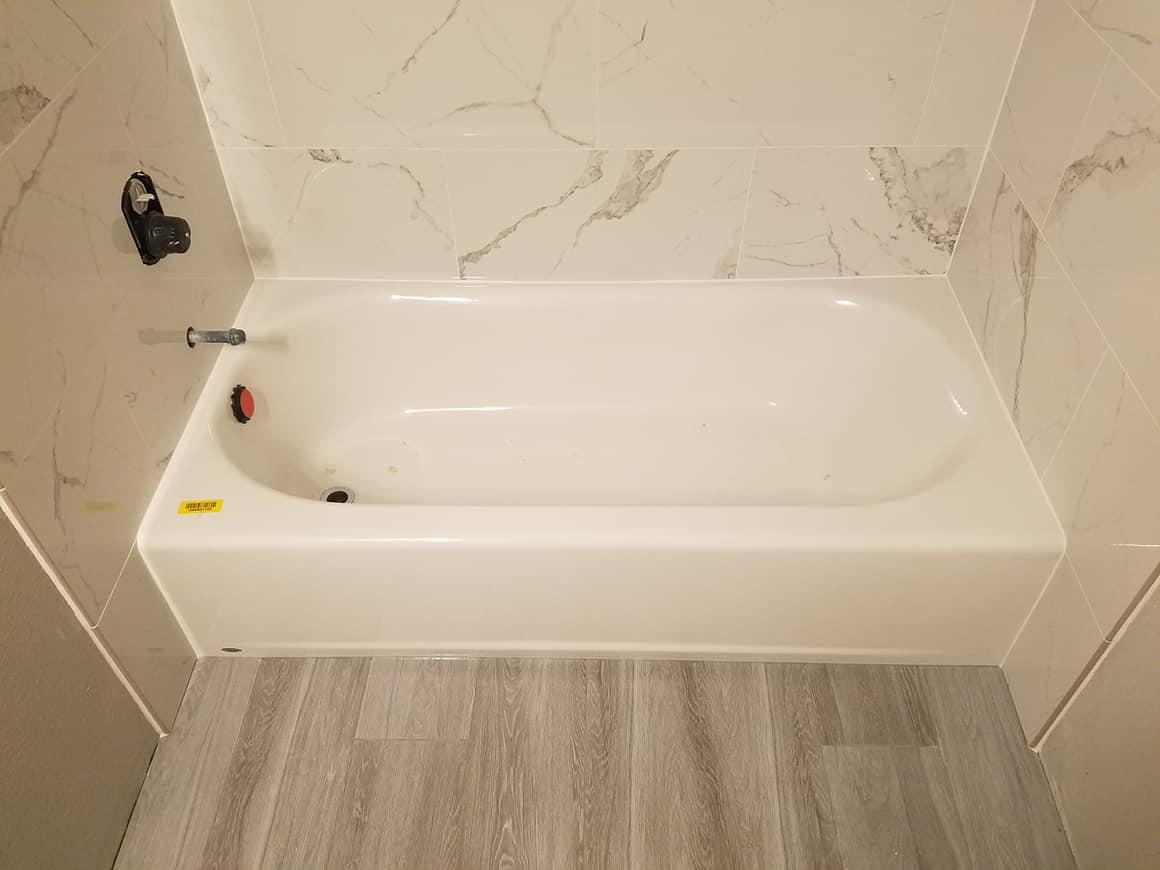 tile bathroom tub surround the floor