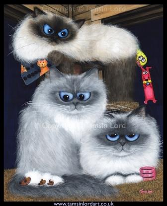 """'The Three Meowsketeers' Commission ~ Completed Painting ~ Size: 11x14"""""""