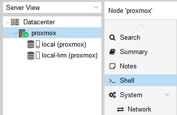 shell Proxmox