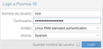 Login Proxmox