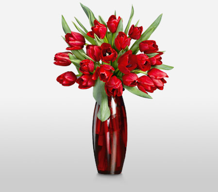 Rapturous Reds Bouquet Of Red Tulips Send Flowers