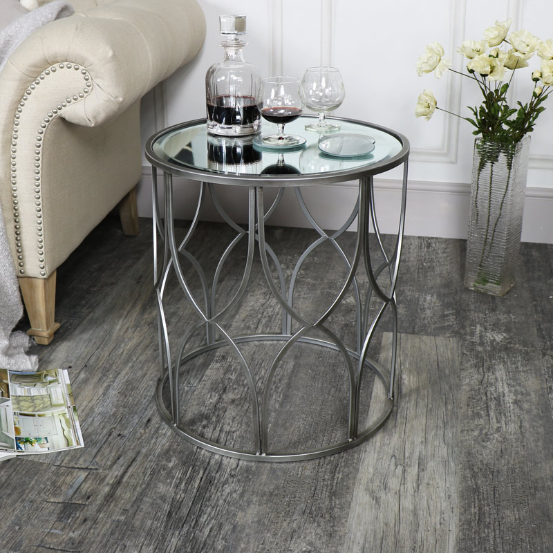 flora furniture small ornate silver mirrored side table
