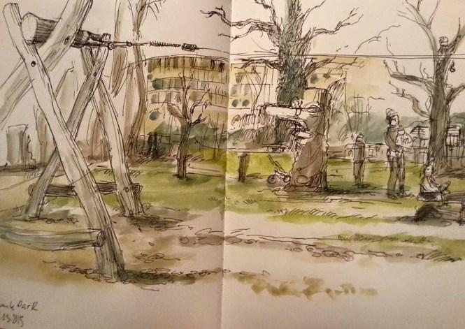 Der Paule-Park, gezeichnet vom Autor