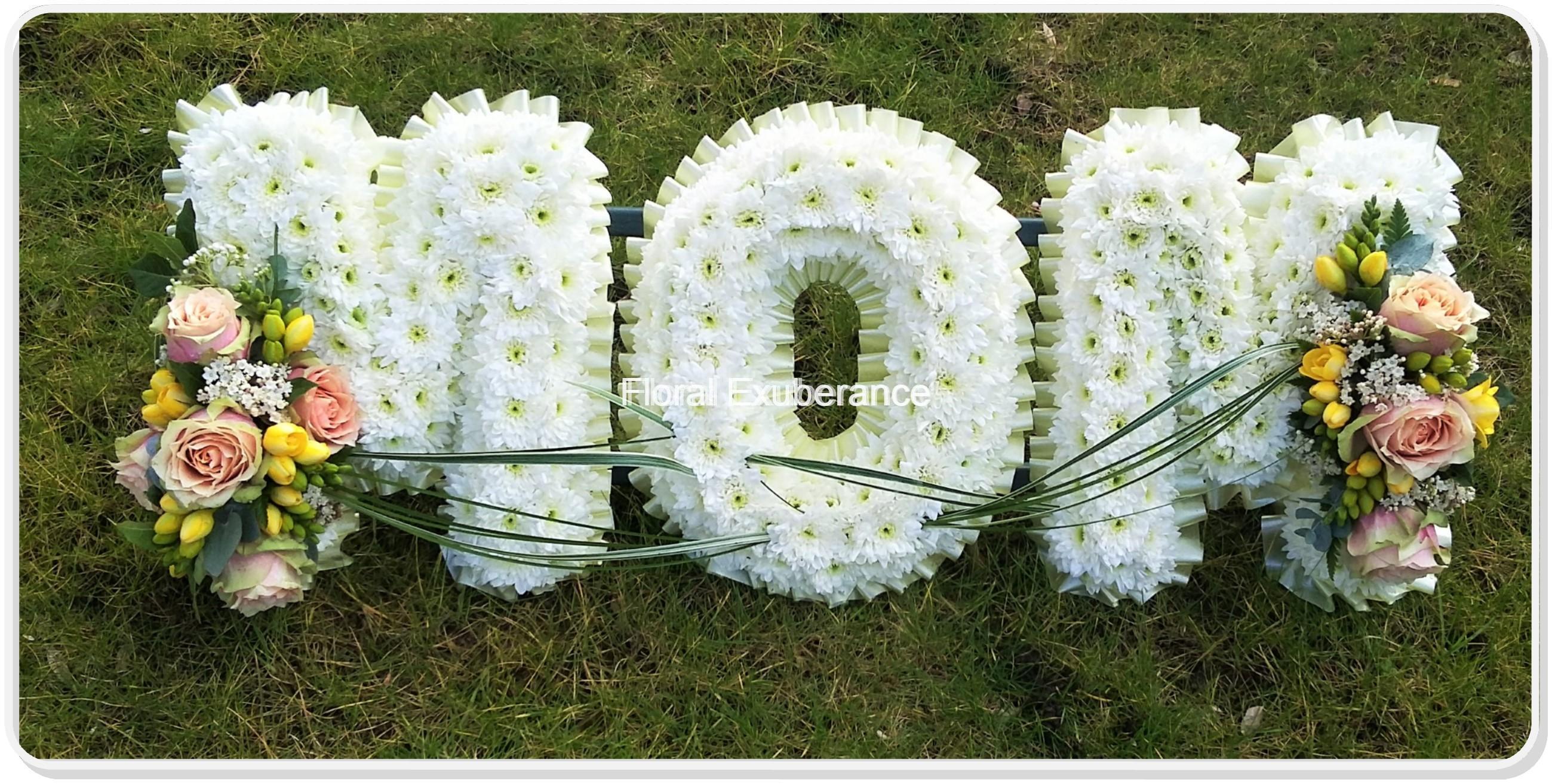 Mom funeral flower letters floral exuberance mom funeral flower letters izmirmasajfo Gallery