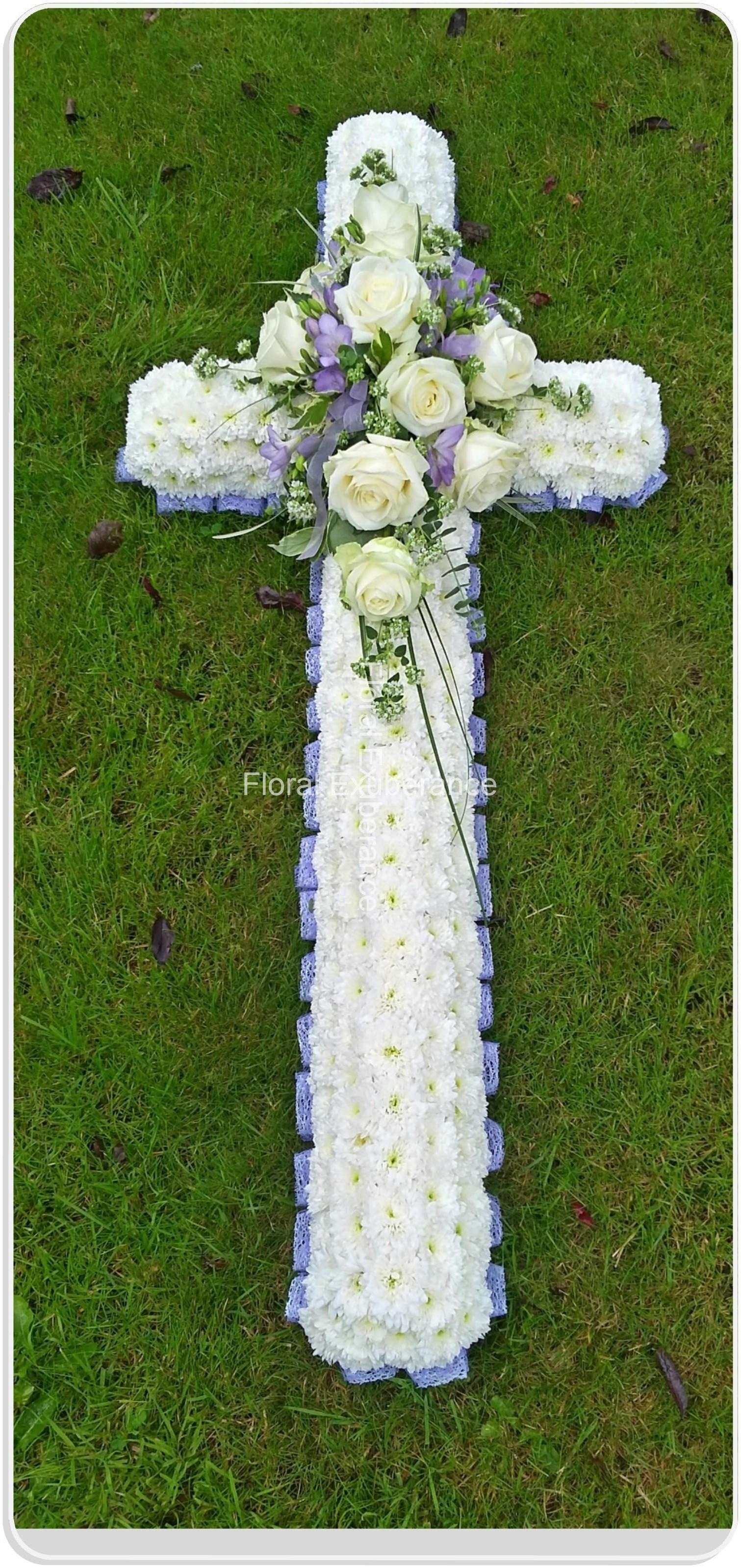 Traditional Funeral Cross With Lace Ribbon Edge Floral Exuberance