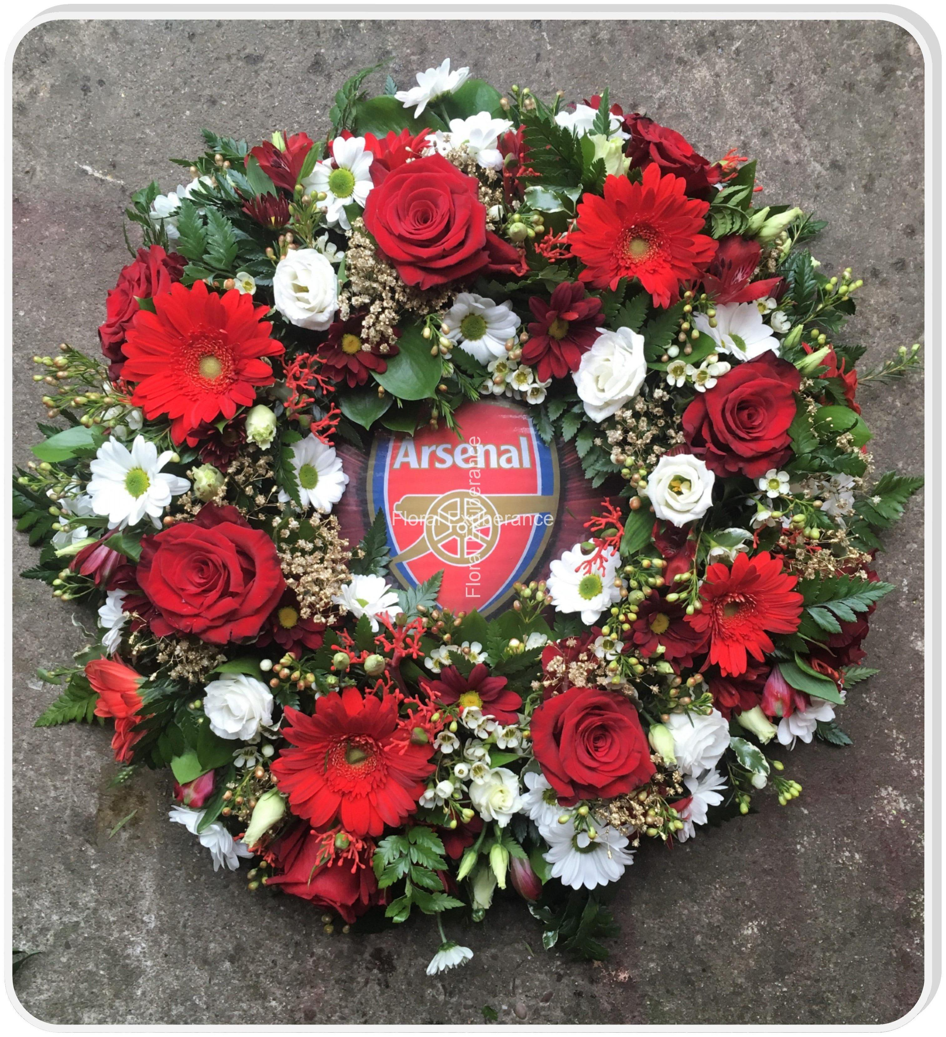 Arsenal funeral flower wreath floral exuberance arsenal funeral flower wreath izmirmasajfo Images