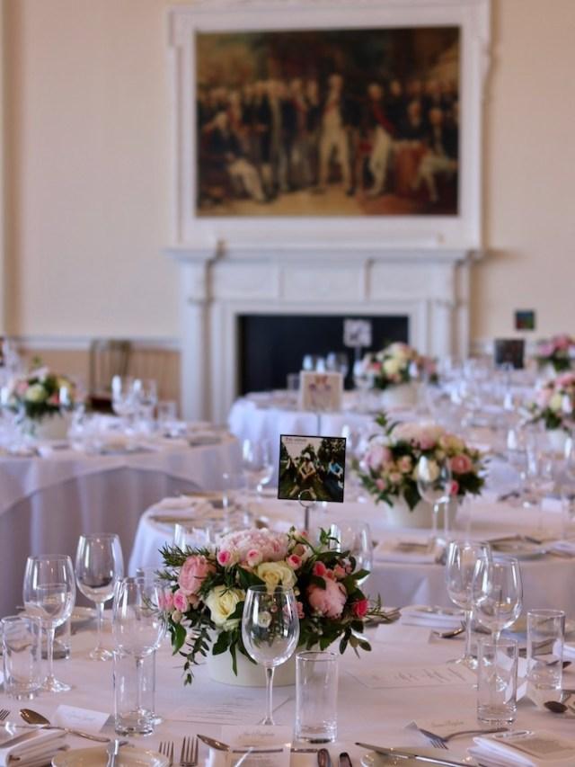Wedding table flowers at the Trafalgar Tavern, Greenwich