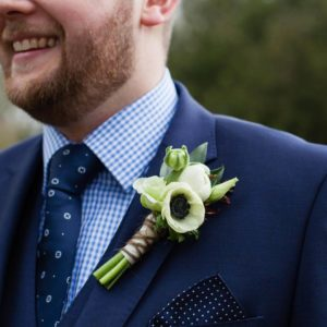 Rise Hall Wedding Anenome buttonhole