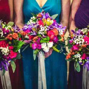 Wedding Flowers Hull Rachel & Joe Skidby Mill house Jeweled tone bridesmaids