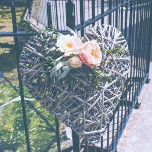 Wedding Flowers Welton Rupert & Hollie Wedding Welton Wicker heart flowers