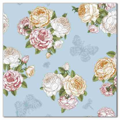 Ceramic wall tile with vintage-style design of roses and butterflies, with duck-egg blue background - Product Code Q5