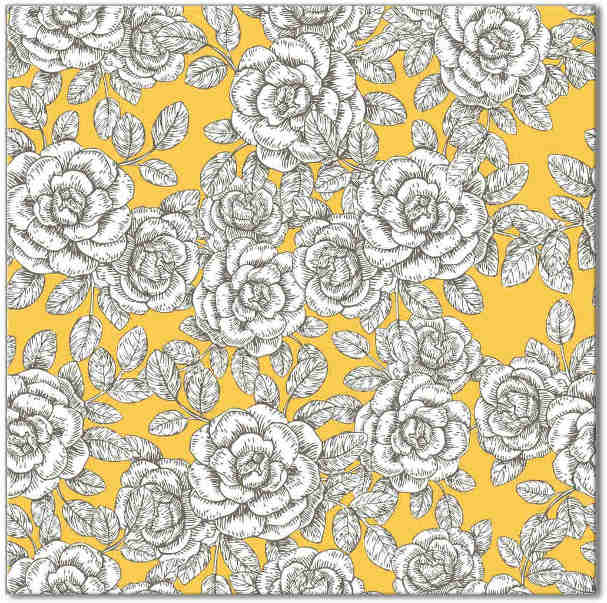 Yellow and White Roses Pattern Ceramic Wall Tile