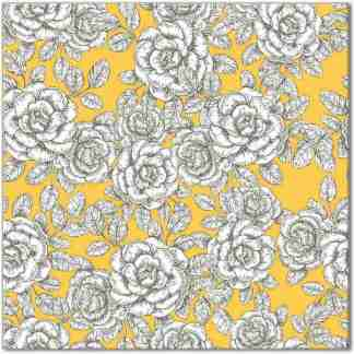 Floral wall tile, white roses with yellow background, Product Code Q8