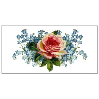 Pink rose and forget-me-nots on a white rectangular background, ceramic border wall tile