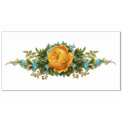Vintage-style yellow rose with blue flowers on a white background ceramic border wall tile