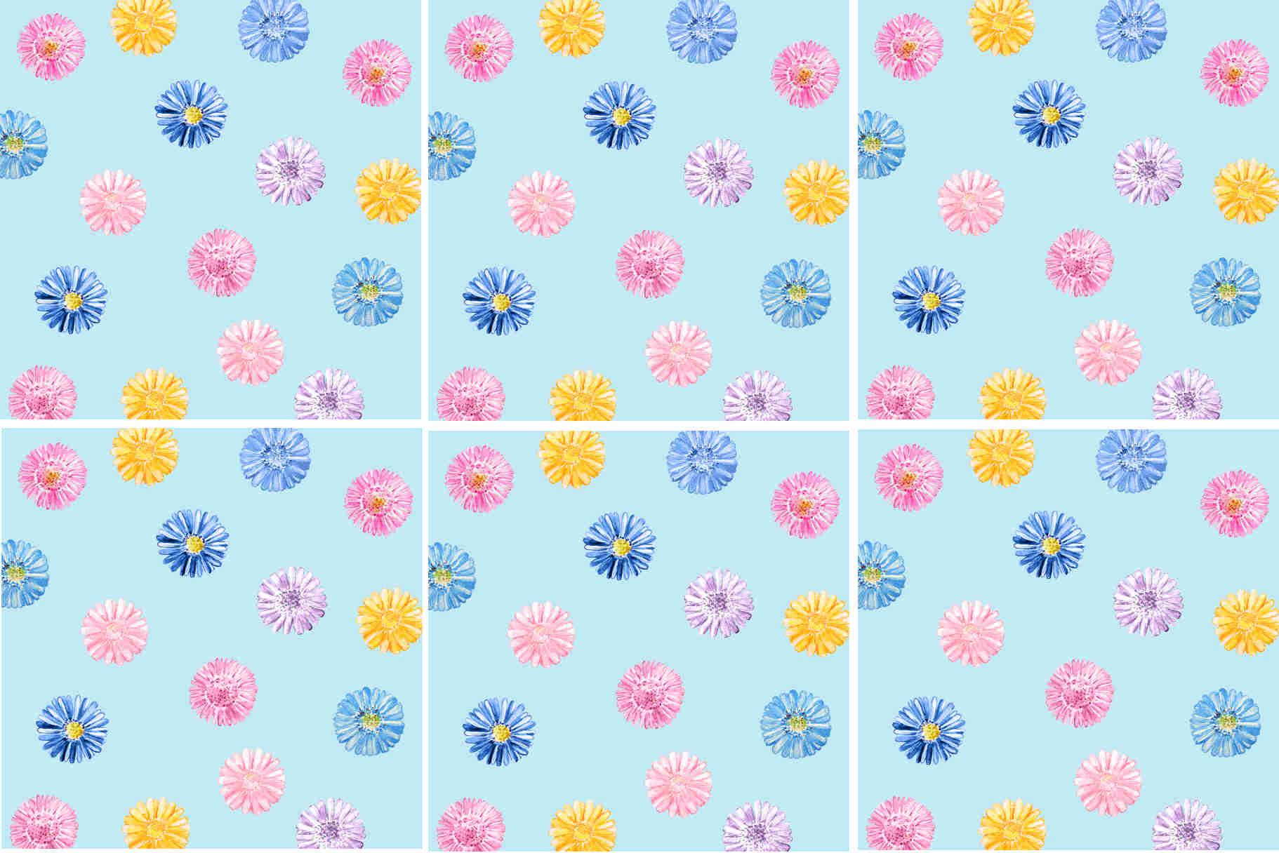 Blue Daisy Pattern Ceramic Wall Tile