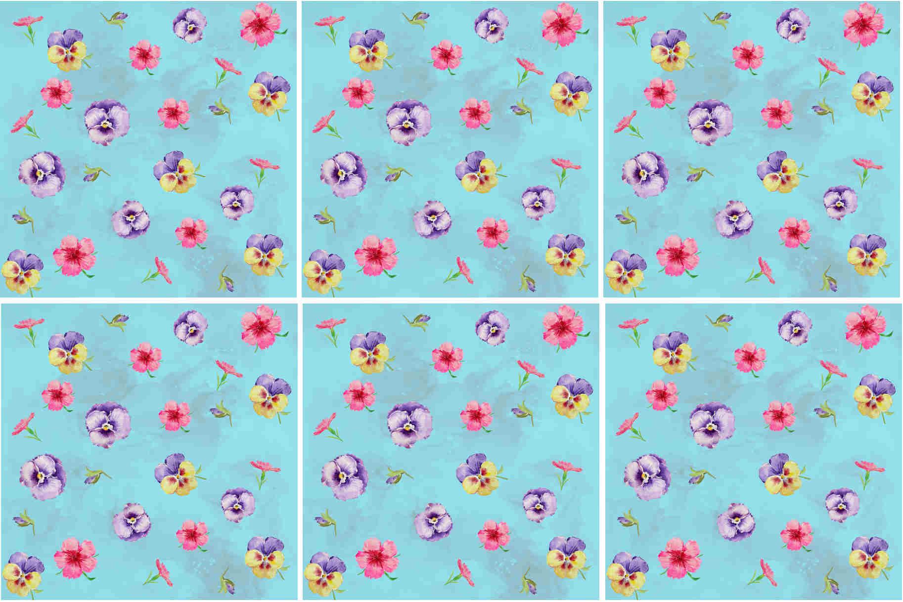 Blue Pansies Floral Pattern Ceramic Wall Tile