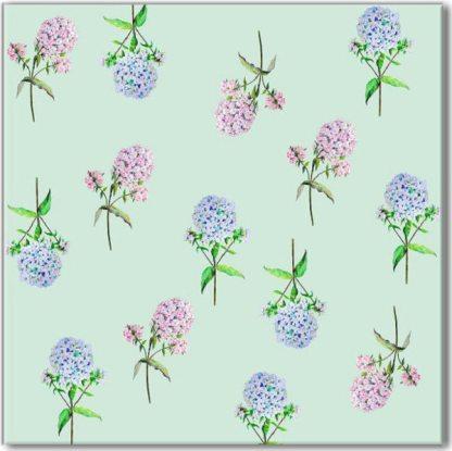 Green Hydrangea Floral Pattern Ceramic Wall Tile