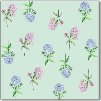 Green Hydrangea Floral Pattern Ceramic Wall Tile