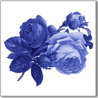 Blue Roses on a white background ceramic wall tile