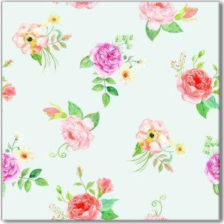 Pastel Roses Pattern Ceramic Wall Tile