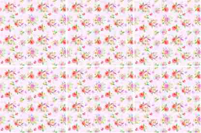 Romantic ditsy roses and hearts ceramic wall tile pattern example