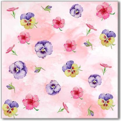 Pink Pansy Pattern Ceramic Wall Tile